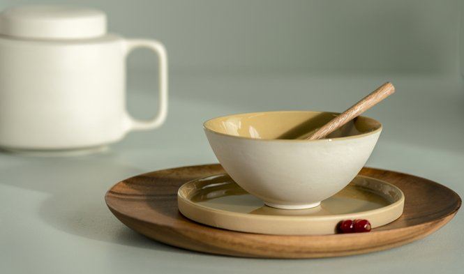 servies naturel mustard design