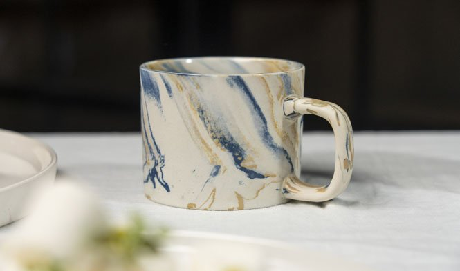 capuccino cup marbled blue mustard