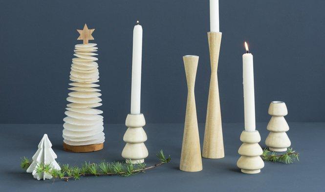 kandelaars kerst hout naturel