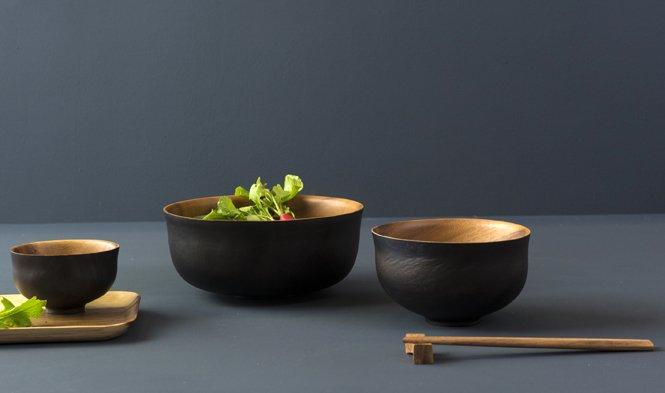 schaal zwart hout japans