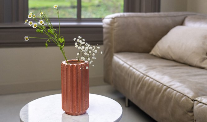 folded vase rosy