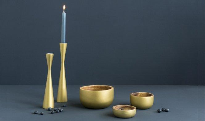 schaal en kandelaar goud hout