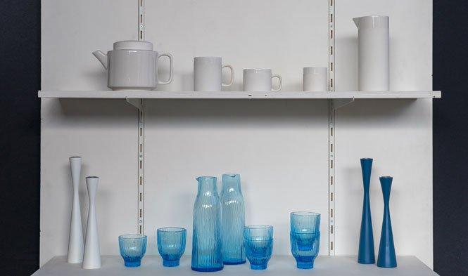 glas blauw keramiek wit