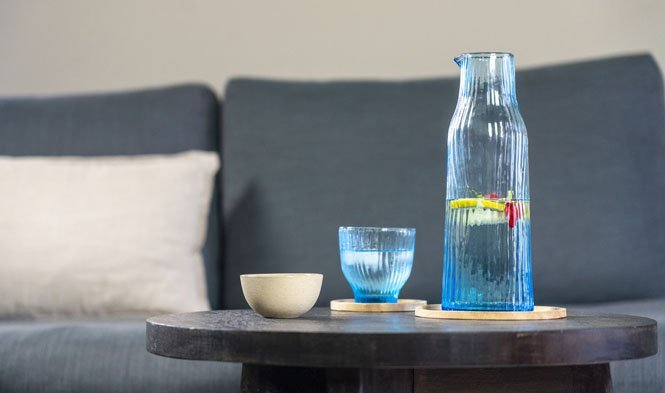 glas blauw setting