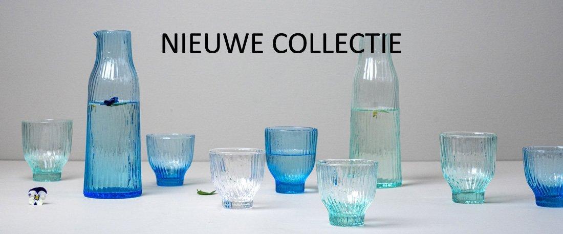 waterglas blauw design patroon