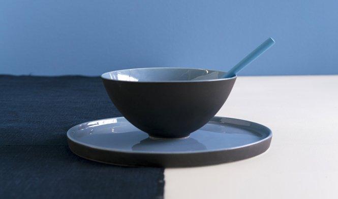 bord blauw zwart handgemaakt