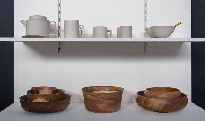 keramiek light grey bowls