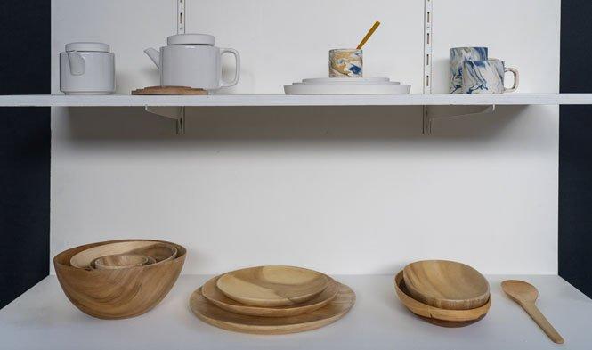 keramiek wit gmelina hout