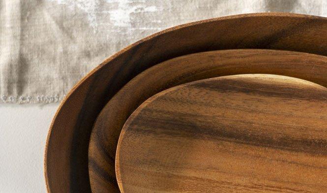oval plates acacia wood