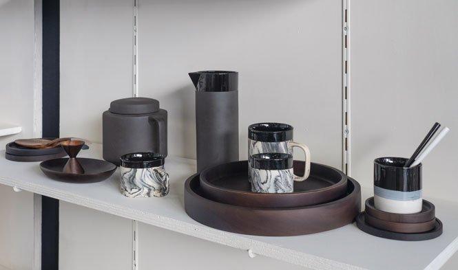 stoneware zwart dienblad onderzetter