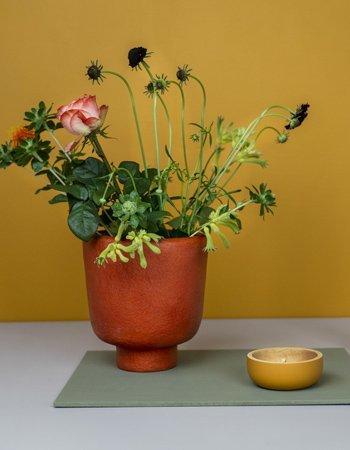 vase on foot orange