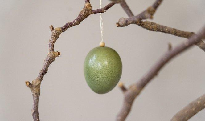 wood egg green