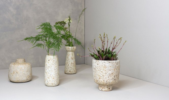 wood pulp vases and flowerpots